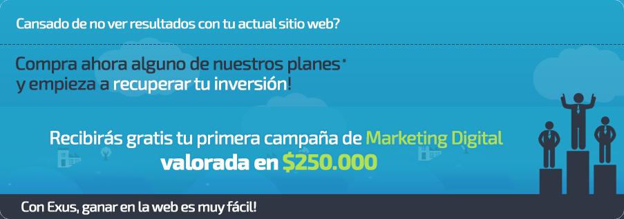 Contrata una web y recibiras un paquete de $250.000 en marketing digital.